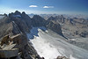 A look down on the Palisade Glacier and the Palisades from atop Mt Sill, 9-6-2007, 3:16 pm