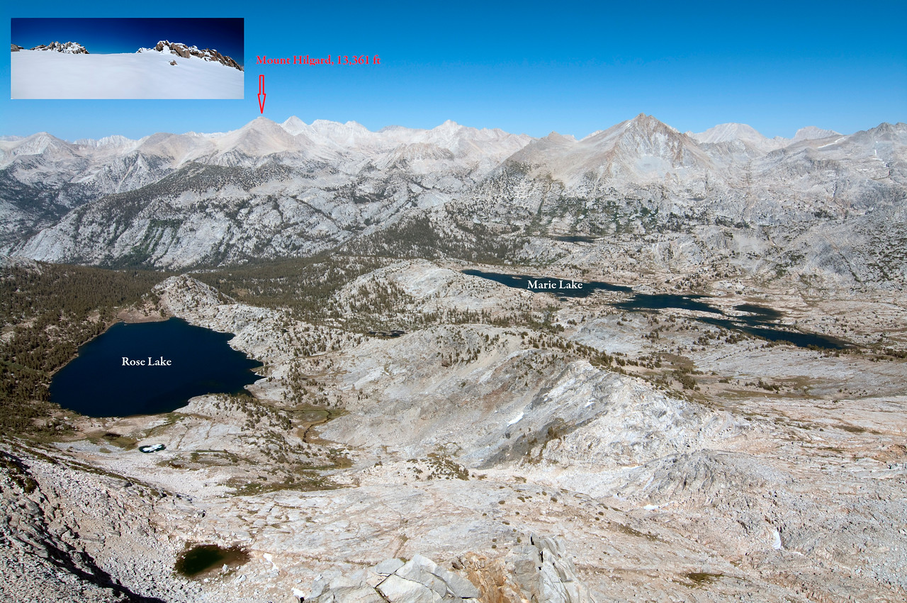 Looking NE towards; Rose Lake, Marie Lake, and Mount Hilgard from atop of Mount Hooper, 9/11/2010.  The Mount Hilgard summit thumbnail w/n this picture was taken looking East on 5/27/2012.